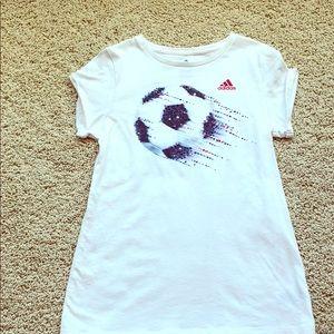 Girls Adidas Soccer Graphic Tee Large(12/14)